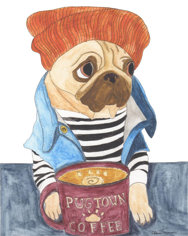 Art Saved My Life — Coffee Art, Pug Print, Hipster Animals