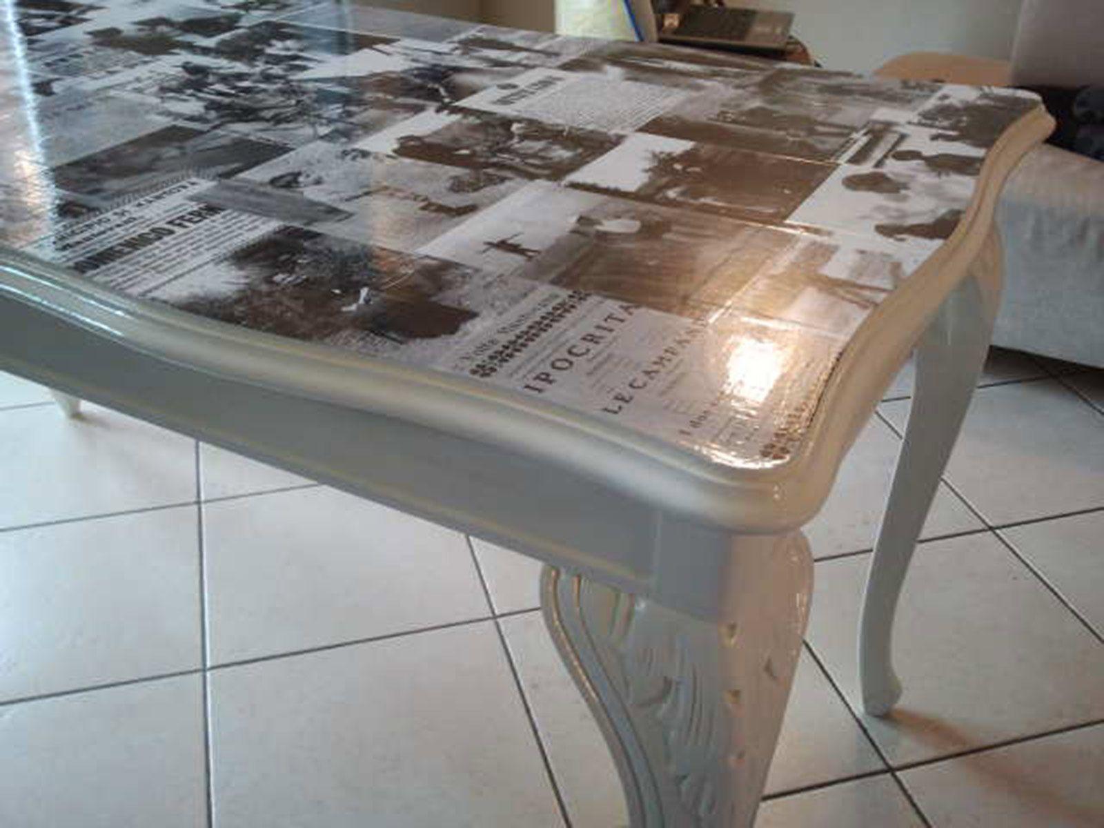 Vecchio tavolo ~ Tavolo a consolle in rovere spazzolato laccato a vecchio