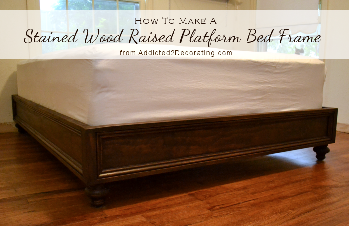 DIY Stained Wood Raised Platform Bed Frame Finished