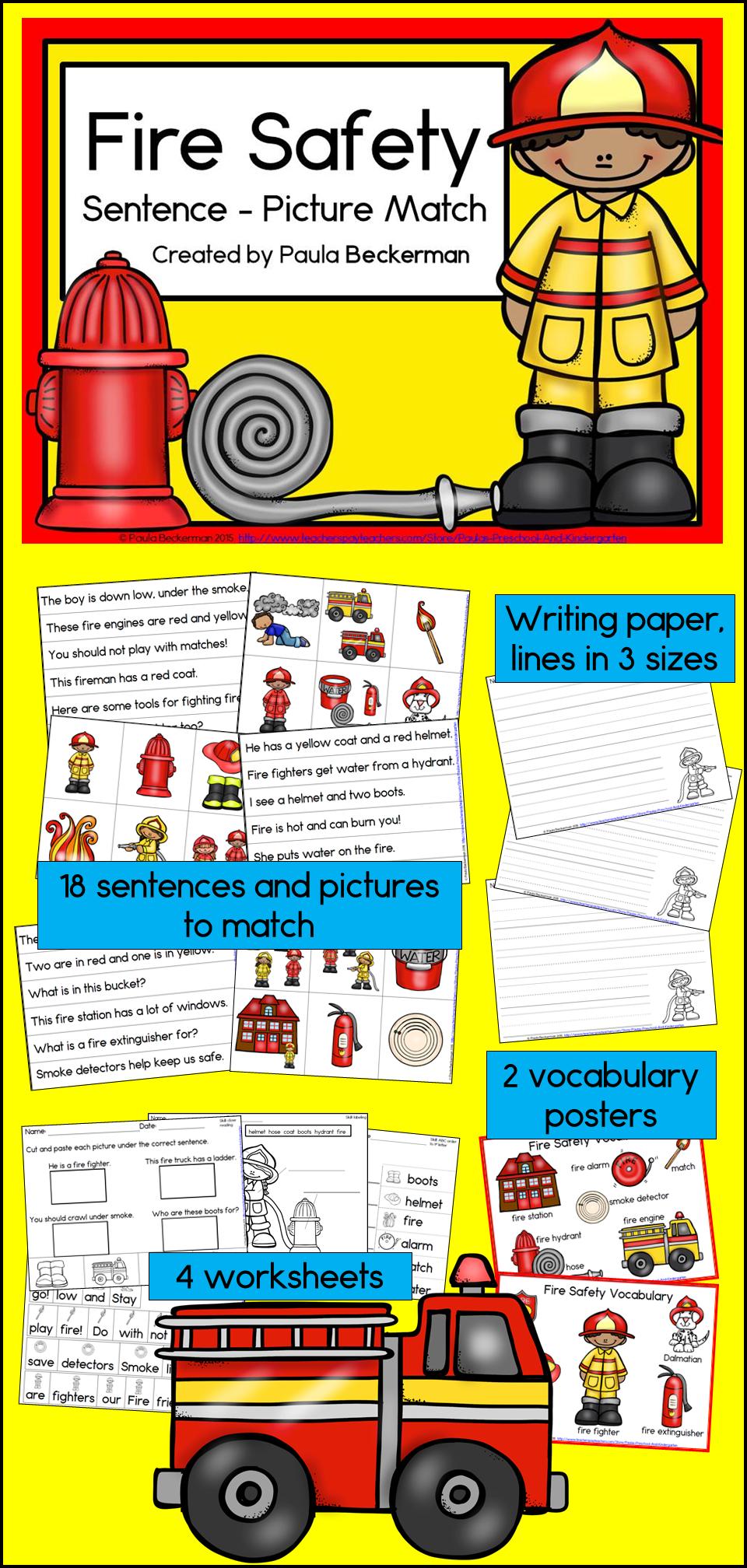 Fire Safety Sentence Picture Match Reading Center Kindergarten First And Second Kindergarten Reading Centers Fire Safety Kindergarten Reading Activities [ 2016 x 960 Pixel ]