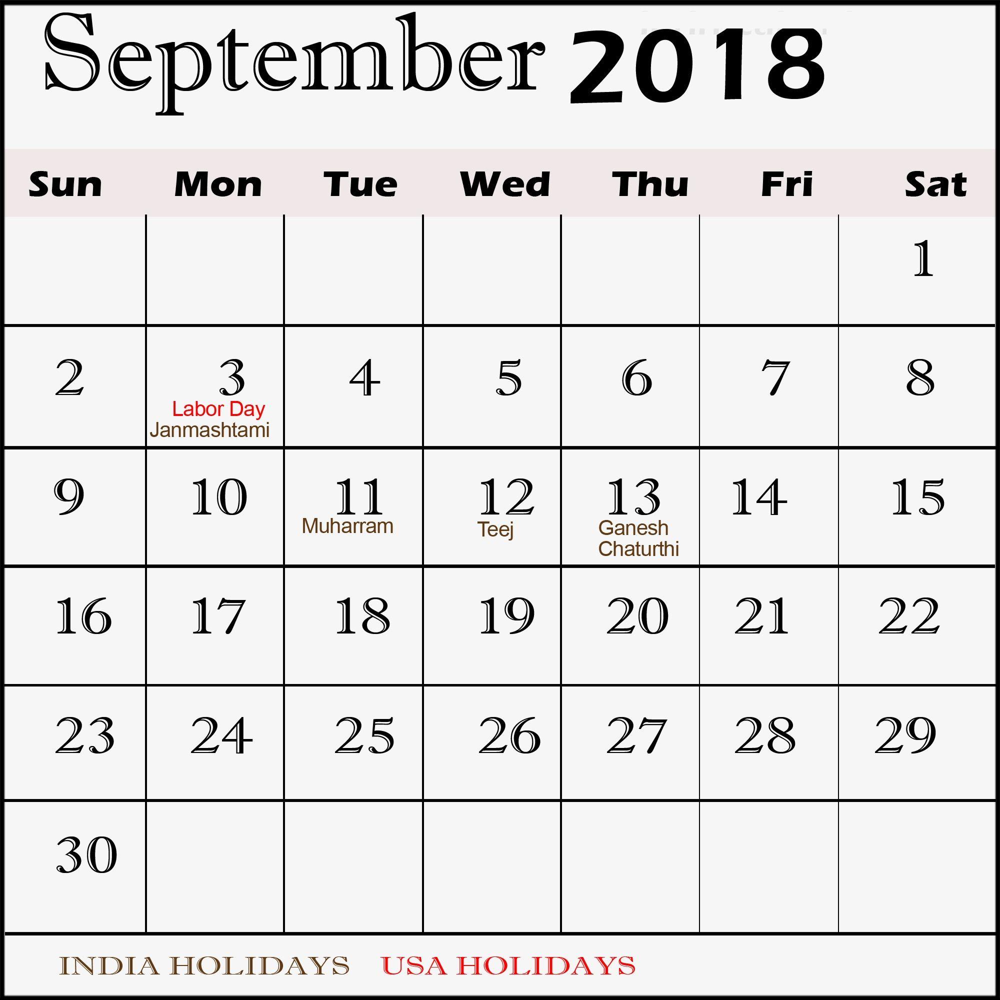 Blank September 2018 Calendar With Holidays Calendar