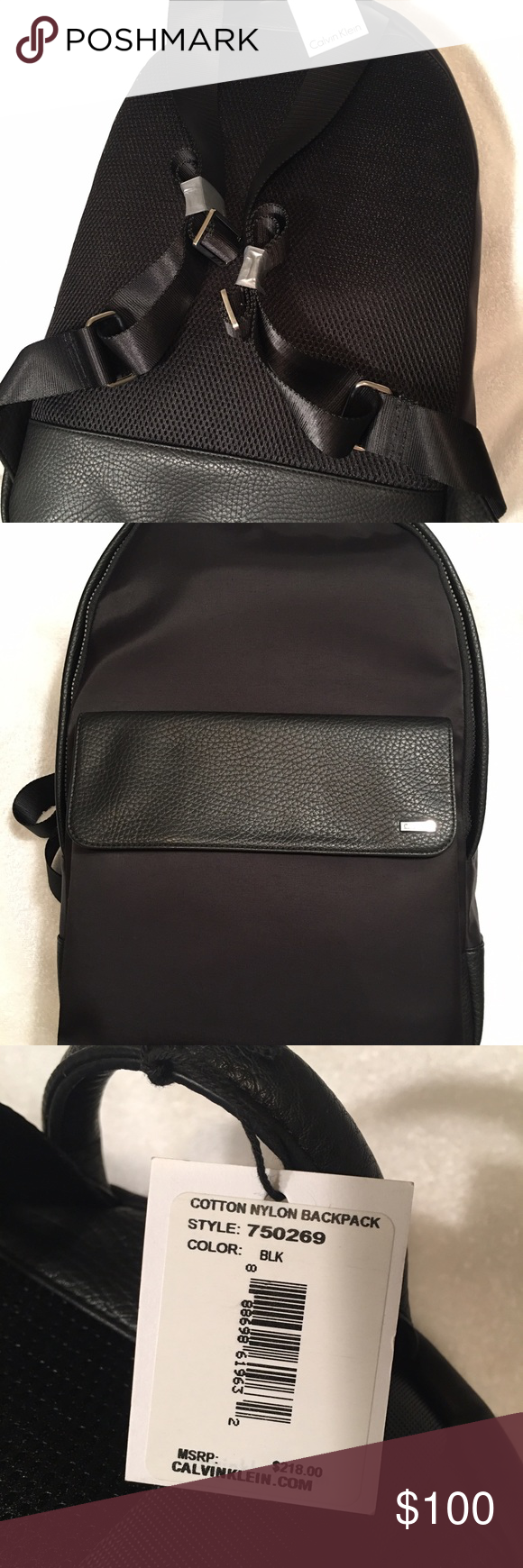 Calvin Klein athletic nylon/leather backpack calvin klein unisex athletic nylon/leather backpack black  -an athletic nylon backpack bag designed with nylon and leather trim, multiple storage options and adjustable shoulder straps. -athletic nylon backpack -top leather handle + adjustable shoulder straps -main compartment zip closure -front zip pocket + leather pocket -logo plaque -interior storage space -fully lined -nylon + leather -universal unisex style Calvin Klein Bags Backpacks