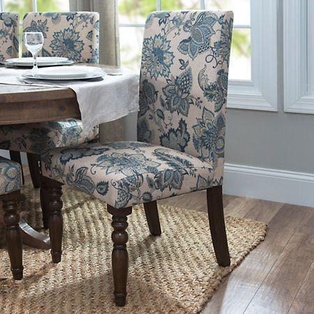 Navy Floral Parsons Chair Kirklands Fabric Dining Room Chairs Blue Dining Room Chairs Dining Room Blue Navy blue parsons chairs