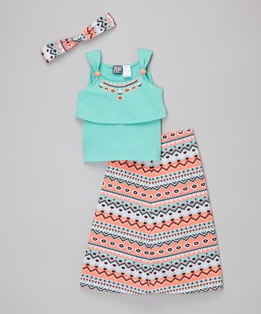Another great find on #zulily! Mint & Orange Geometric Britt Maxi Skirt Set - Girls #zulilyfinds