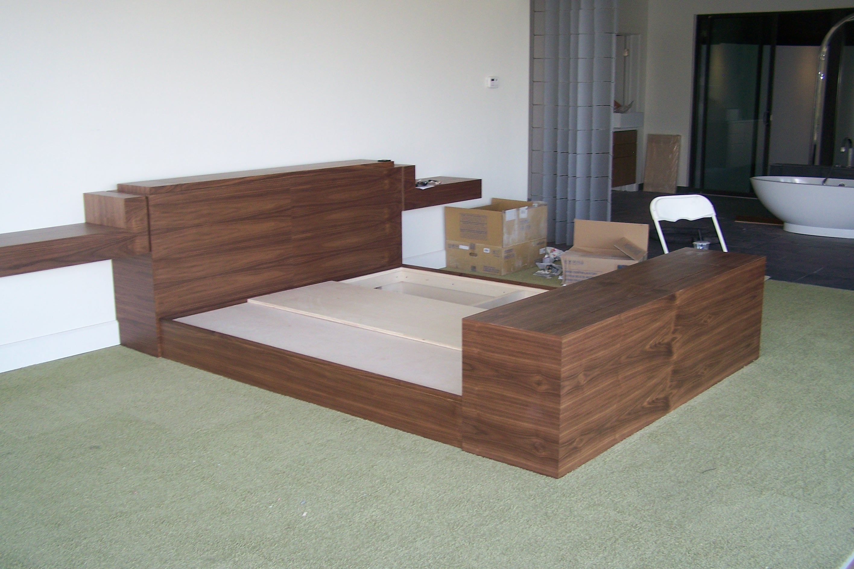 finish product walnut king bed w hidden partment in