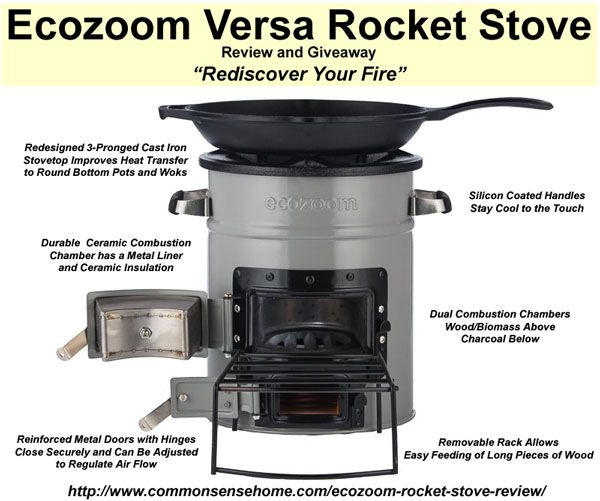 Ecozoom Rocket Stove - a sturdy little multi-fuel stove that's small enough to keep on hand for emergencies or take camping, durable enough be a primary cook stove.