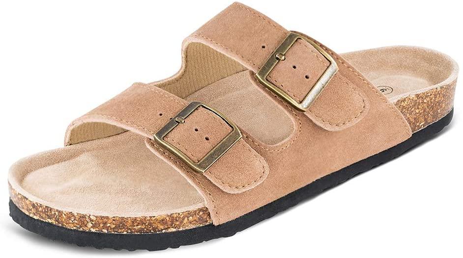 Platform-Wedge-Sandals-Slide-Sandals-Flatform-Sandals Leather Adjustable Open Toe Outdoor and Indoor Black Summer Slippers Slip-on Cushion Flat Cork Sandals ONCAI Womens