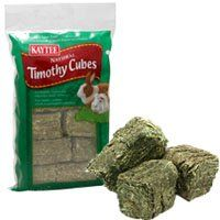 $5.15-$4.74 Kaytee Timothy Cubes are compressed blocks of nutritious sun-cured timothy hay that are ideal as a natural treat for rabbits. High quality hay aids the natural digestive process of rabbits by providing fiber. Because timothy hay is lower in calcium, it may decrease the likelihood of urinary tract problems.
