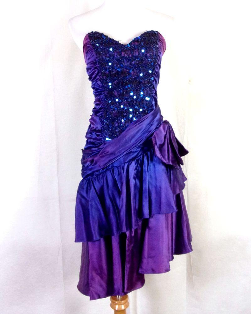Vtg s zum zum retro irridescent purple pink ruched prom dress