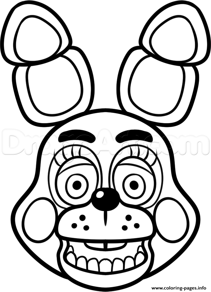 photograph about Five Nights at Freddy's Printable Coloring Pages called Print mangle golden freddy deal with fnaf coloring web pages