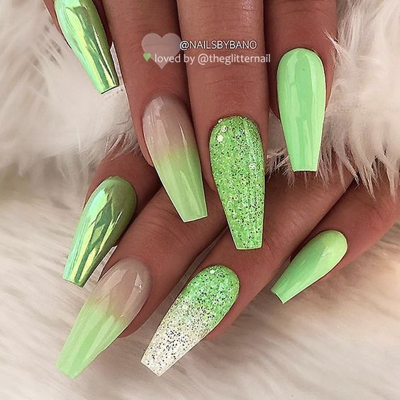 36 Awesome Ombre Nails Coffin Glitter Art Designs In 2019 Coffin