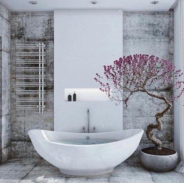 Badeinrichtung Beton Wandgestaltung Badezimmer Ideen Bilder