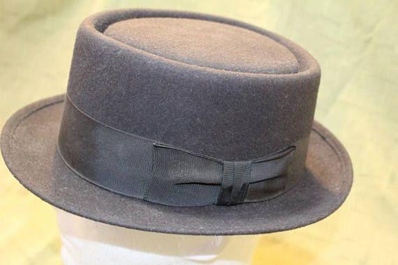 338ca1d345c07 Vintage Newport Merino Porkpie Fedora Fur Felt Black Men s Hat ...