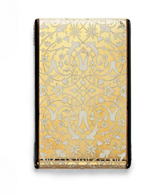 AN ART DECO ENAMEL, DIAMOND AND GOLD CASE  Designed as a polished 18k gold rectangular case decorated with an overall floral pattern in cloisonné white enamel, the sides with oval-shaped pavé-set diamond plaques and hidden pushpiece, opening to reveal a fitted mirror and a closed and open compartment, mounted in 18k gold, circa 1930