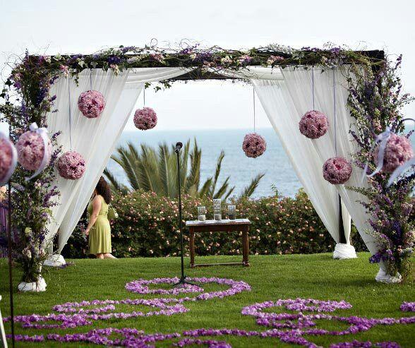Lake Wedding Ideas: Flower Arbor, Draping, Hanging Flower Balls,