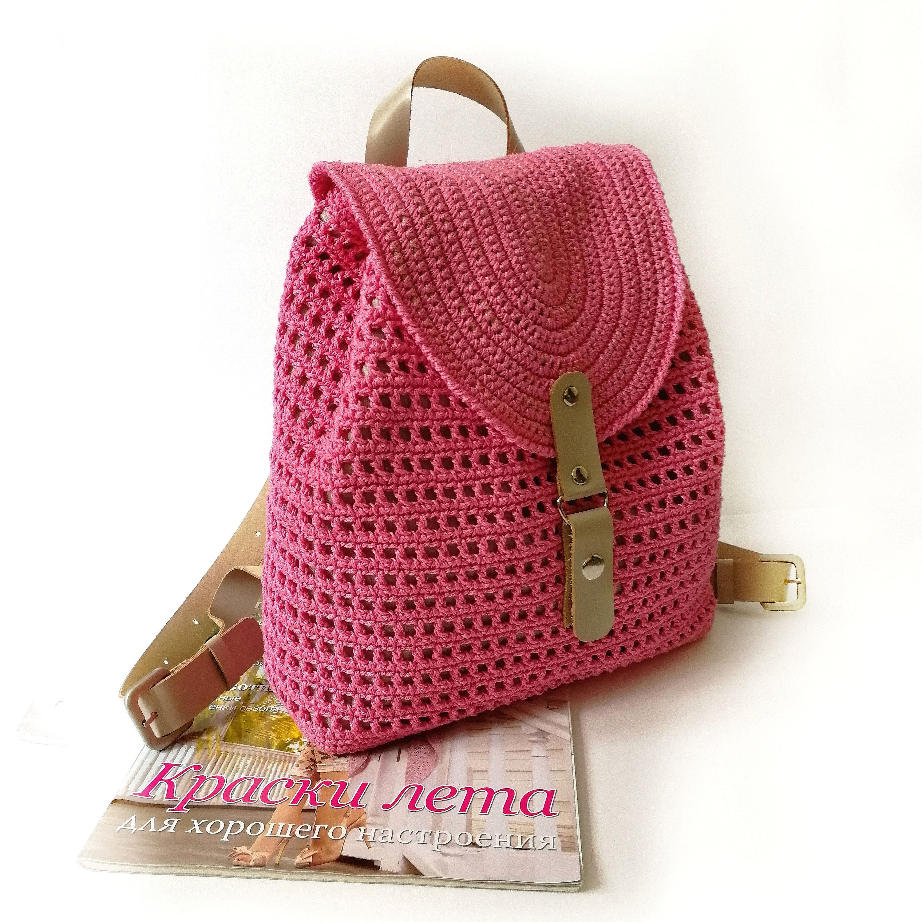 Handmade Crochet Backpack for Women's, Crochet Natural Cotton Backpack with Genuige Leather Strap, Fashion City Bag, Gift for Women