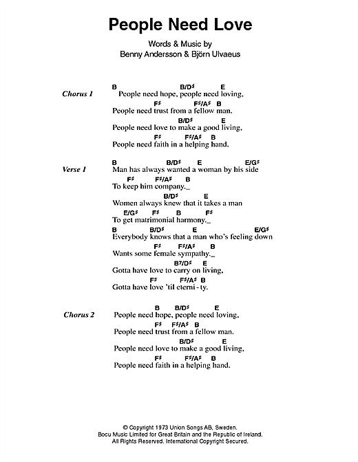 Abba People Need Love Lyrics Chords Sheetmusicdirect