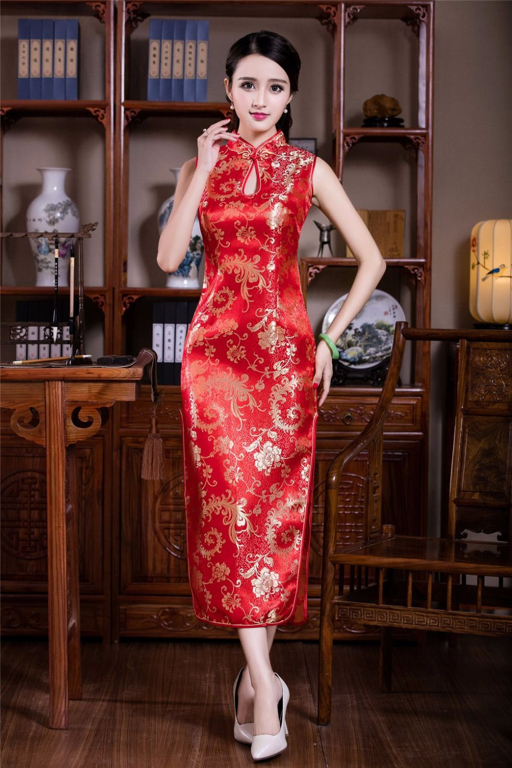 Free shipping new sale Sexy Chinese Women s Clothing Satin Evening Dress  Cheongsam wedding dress Long Qipao f6af1c9aed82