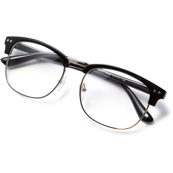 4c5fd2fd768 SheIn(sheinside) Black Open Frame Silver Trim Glasses ( 7) ❤ liked on  Polyvore featuring accessories