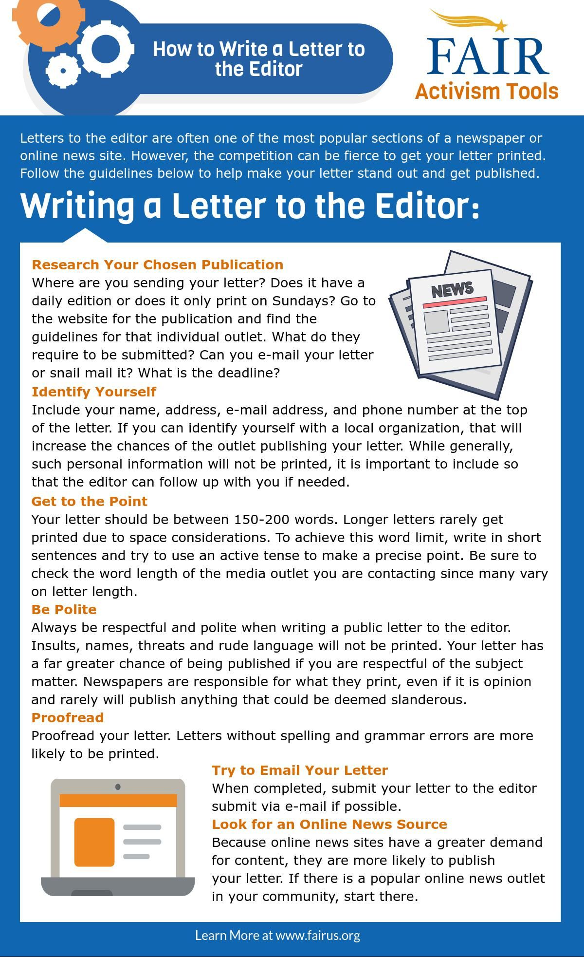 Fair Activism Tool Writing A Letter To The Editor  Activist