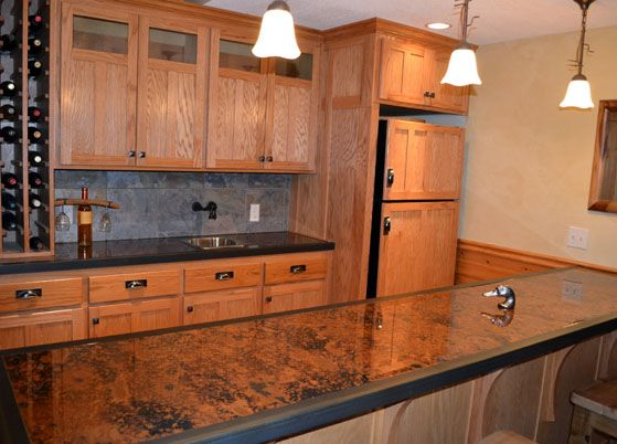Beau Mottled Copper Bar Top With Black Wood Trim