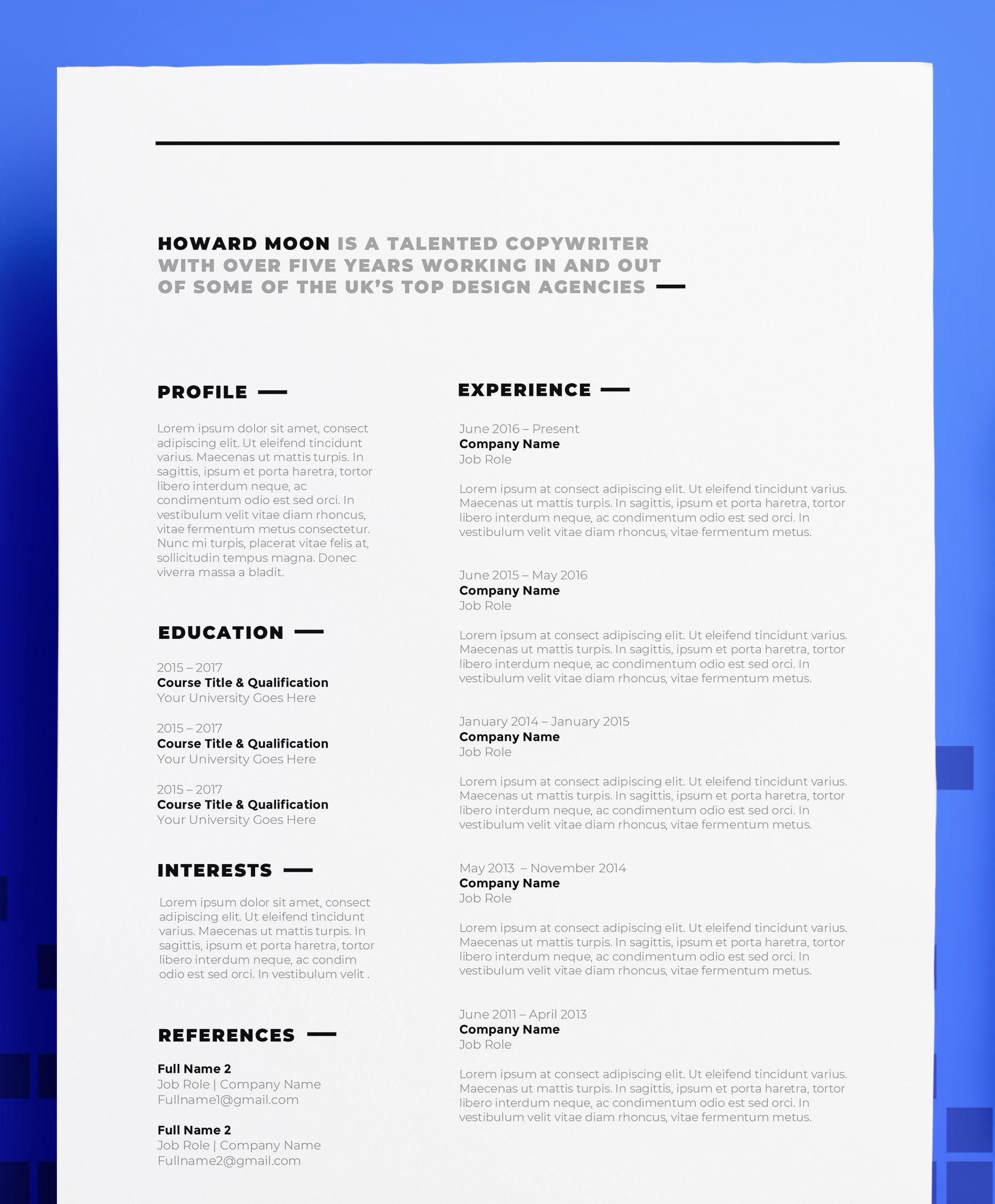 Copywriter Cv Resume Design Howard Moon Professional Etsy Cv Words Cv Design Template Resume Design Template
