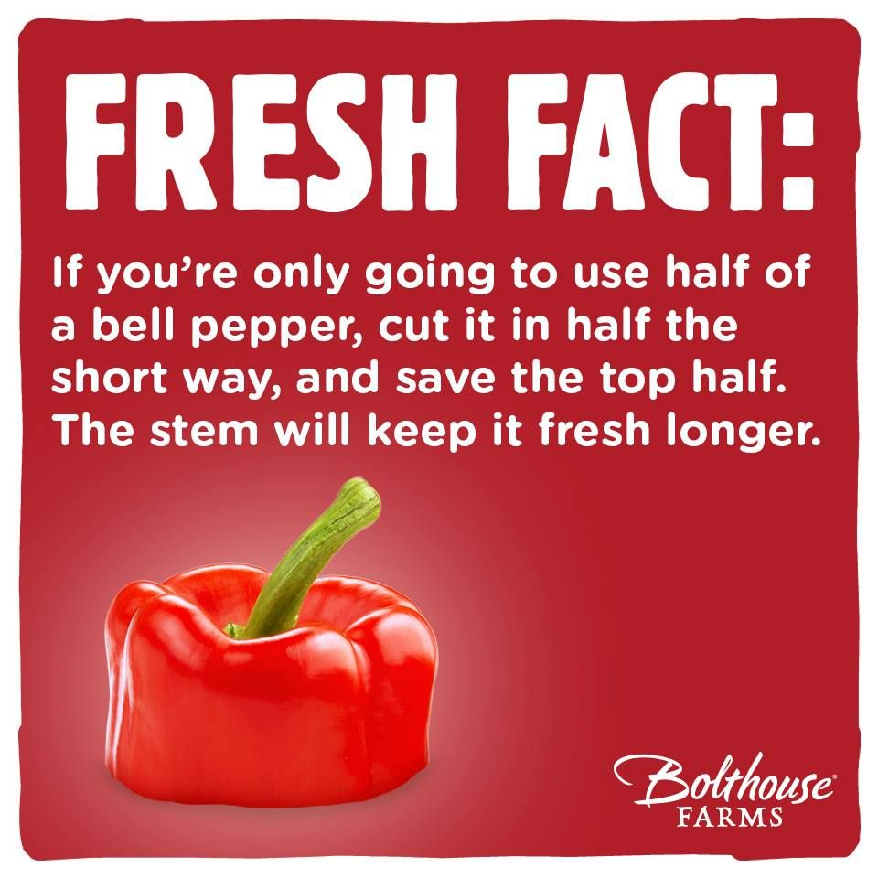 Healthy Recipes Cooking Tips: Fun Food Fact - How To Keep Bell Peppers Longer