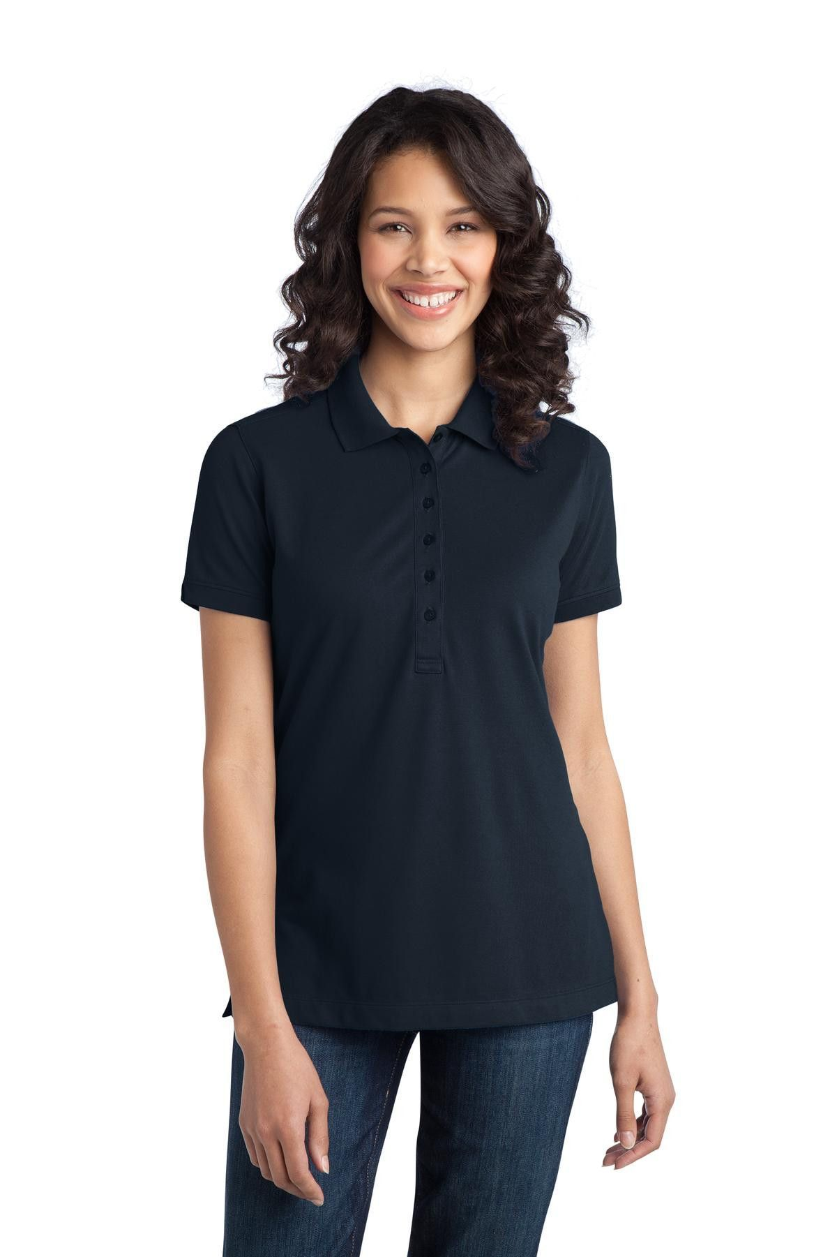 Port Authority Ladies Stretch Pique Polo L555 Dress Blue Navy