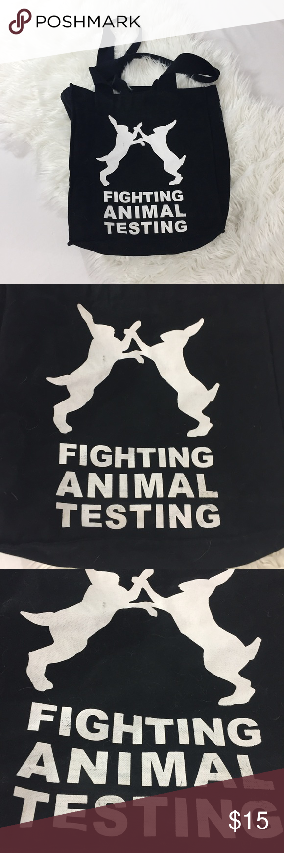 0c8c9785f5 3 for  24 Lush Fighting Animal Testing Tote Good preowned condition. No  tears