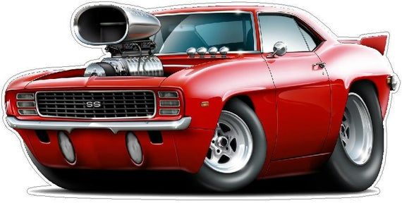 Classic Car 1969 Camaro Pro Street Wall Decal, Car Photo Decal, Man Cave Decor, Fathers Day Gift, Boys Room Decor, Hot Rod Car