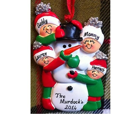 Personalized Christmas Ornament Family of 4 Building Snowman
