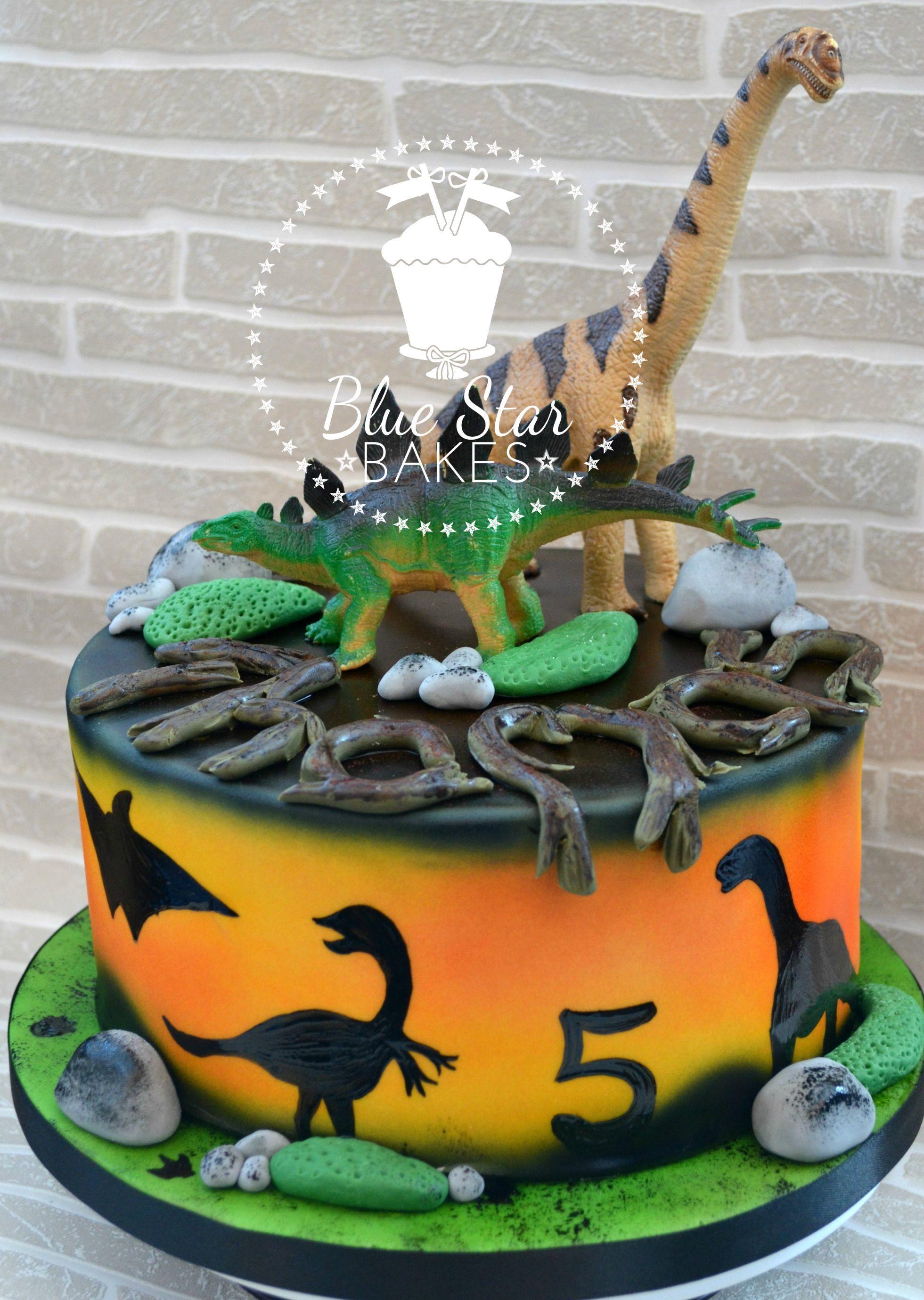 Dinosaur themed birthday cake from wwwbluestarbakescouk