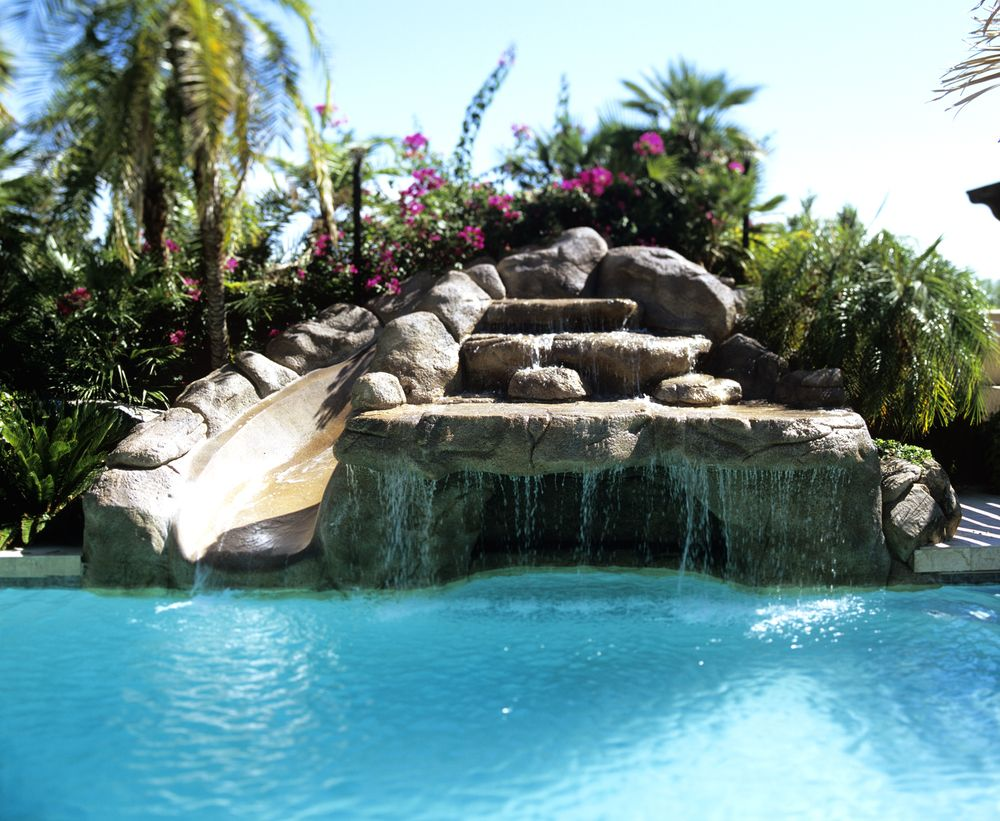 Phoenix Pool Grotto Slide Cool Swimming Pools Backyard Pool