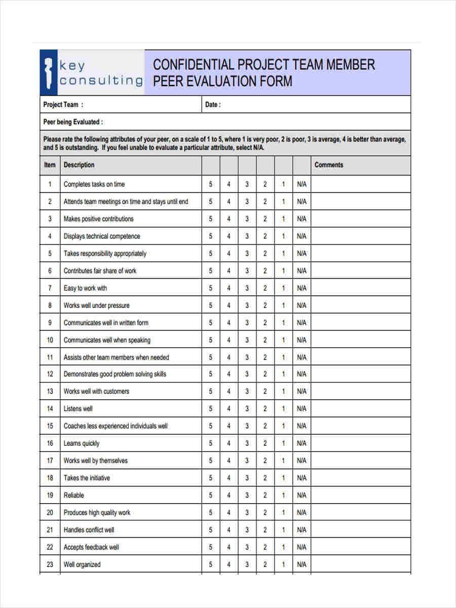 Free 15+ Peer Evaluation Form Templates In Pdf in 2020