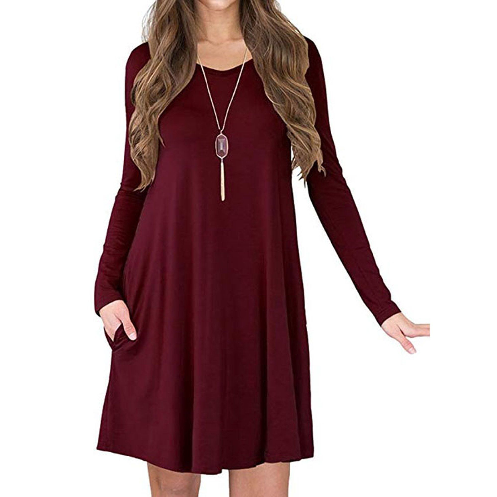 Vista Women S Long Sleeve Pockets Loose Fit Casual Swing Flowy T Shirt Dress Walmart Co Swing Dress Outfit Fall Loose Tshirt Dress Long Sleeve Tshirt Dress [ 2000 x 2000 Pixel ]