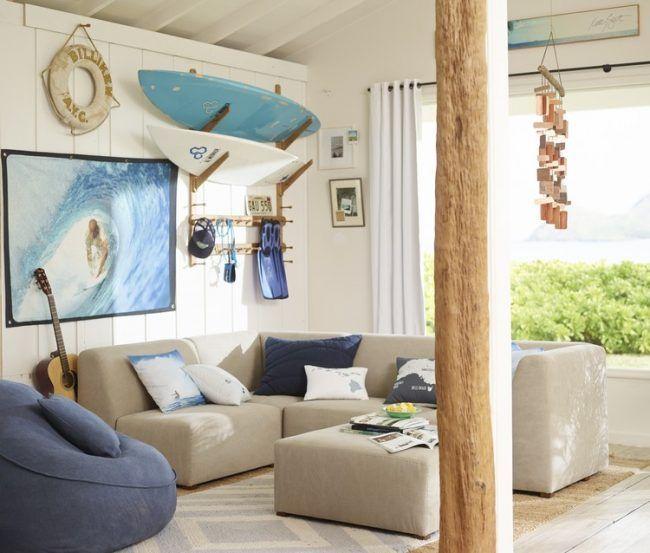 Kinderzimmer Deko Ideen-motto-surfen-wandregal-surfbretter