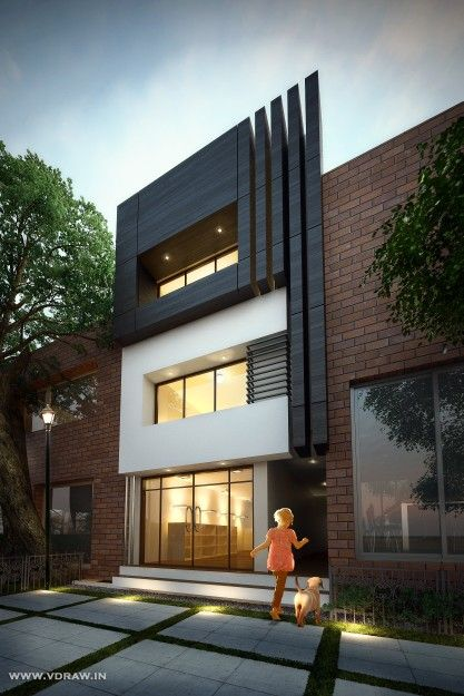 Modern House Bungalow Exterior By Ar Sagar Morkhade Vdraw Architecture 91 8793196382: #Modern #Residential #House #bungalow #Exterior By, Ar.Sagar Morkhade (Vdraw Architecture) +91