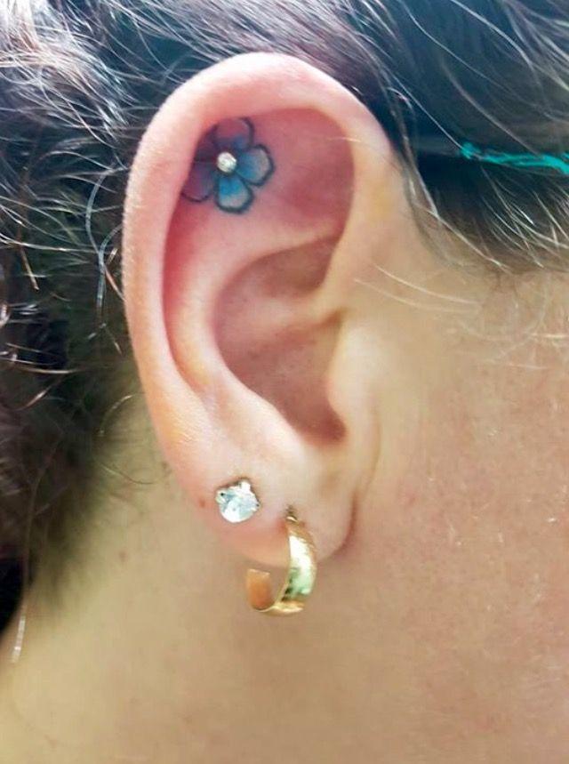 Flower Ear Tattoo With Piercing Ear Tattoo Ear Piercings Piercing Tattoo