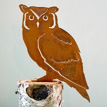 Elegant garden design silhouette screech owl for Gartenschmuck aus metall