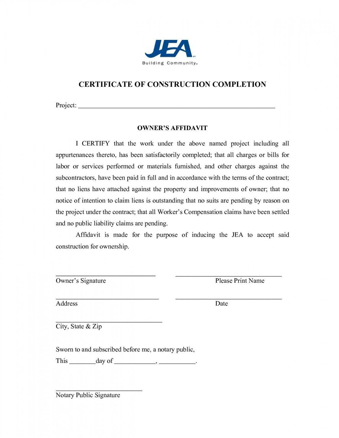 The Inspiring Project Completion Certificate Rmat In Word Template