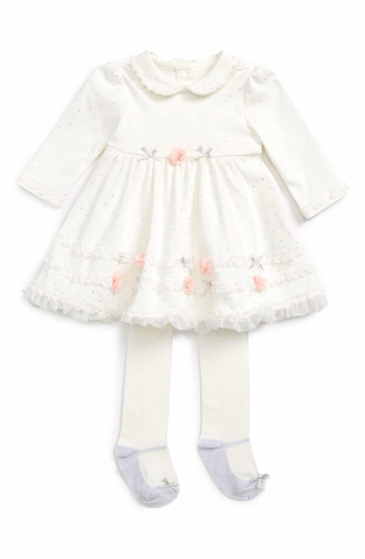 Main Image Little Me Dot Shine Dress & Tights Set Baby Girls