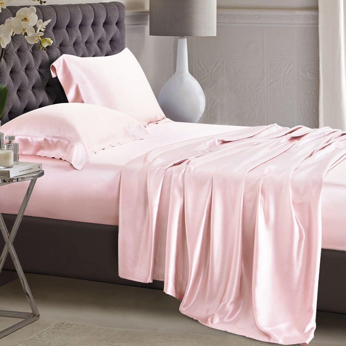 Light Pink Silk Flat Sheet Pink bed sheets, Pink bedding
