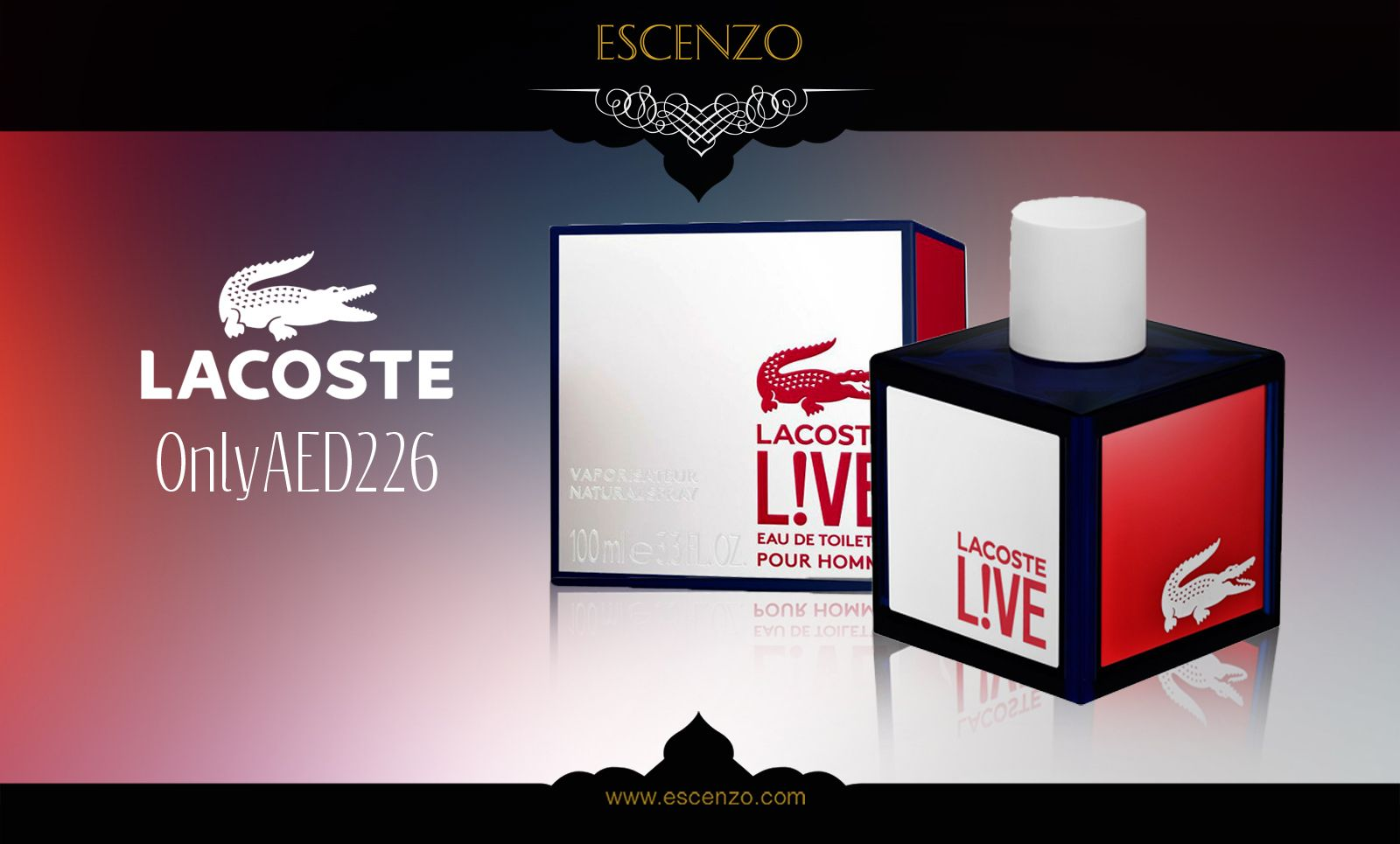 Get Lacoste Live for men on our price 226 AED. Order http