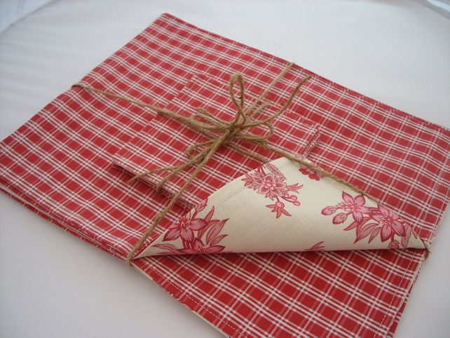 Set Of 4 Reversible Placemats Coasters Placemats Floral Fabric Coasters