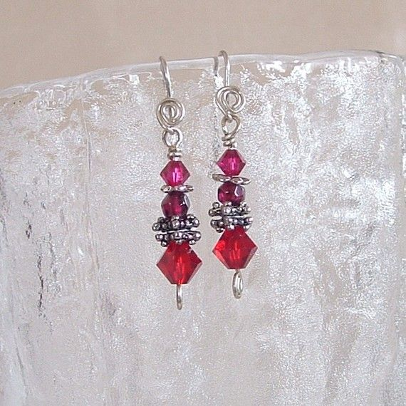 Earrings  Swarovski Crystals with Garnet by wiredroxz on Etsy