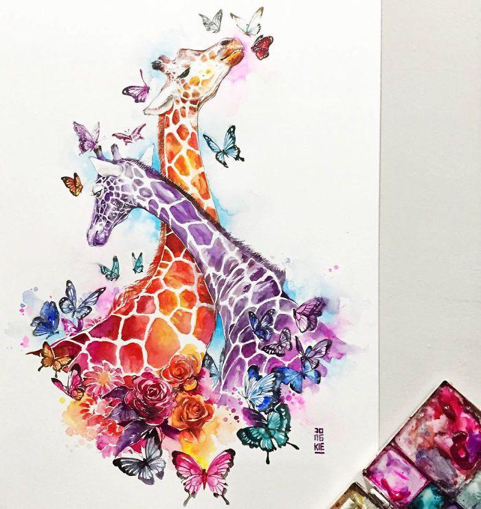 I Create Animal Spirits Trough Watercolor Desenho Girafa Obras