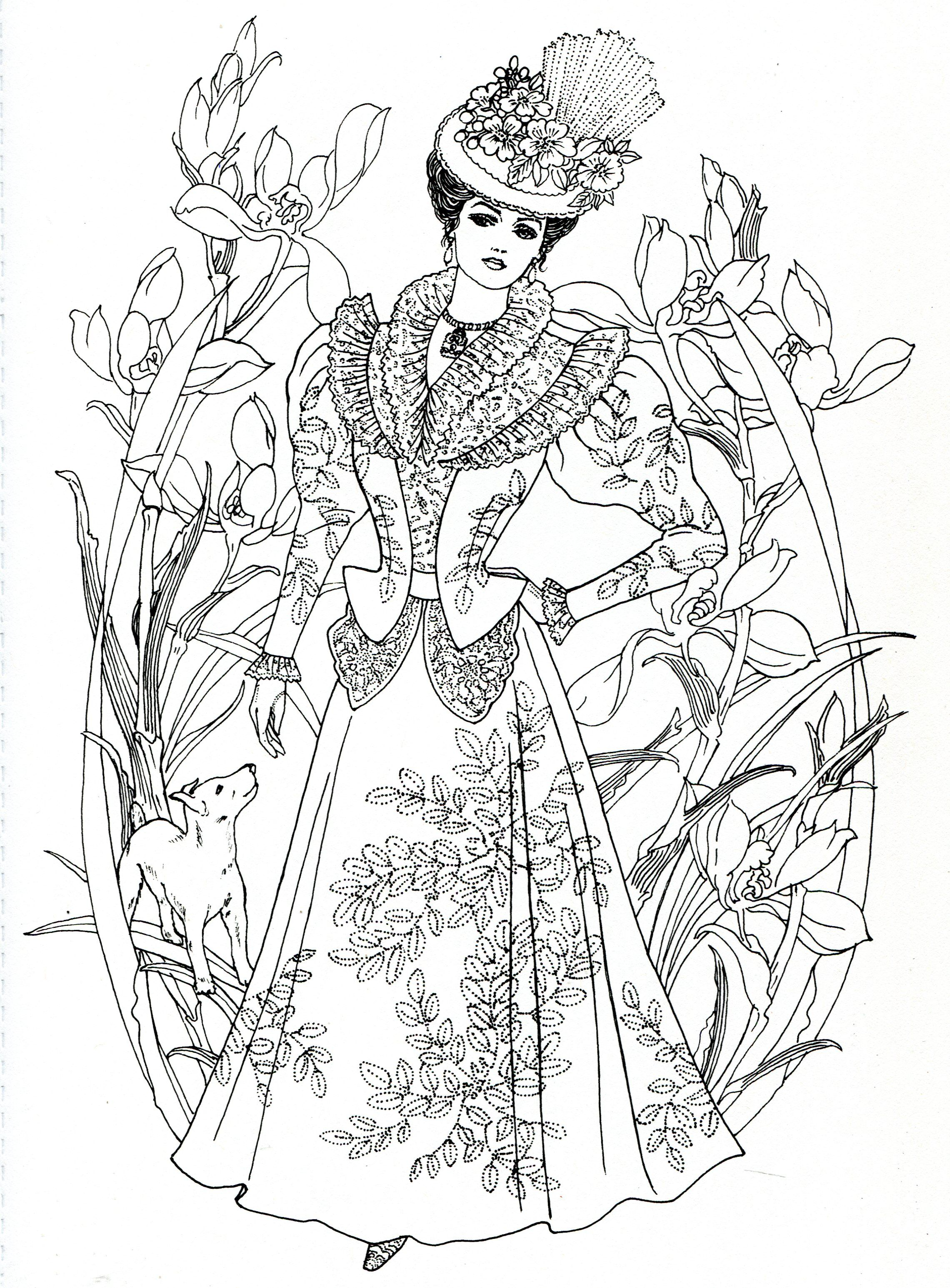 Art Nouveau Fashions for coloring | Detailed coloring ...