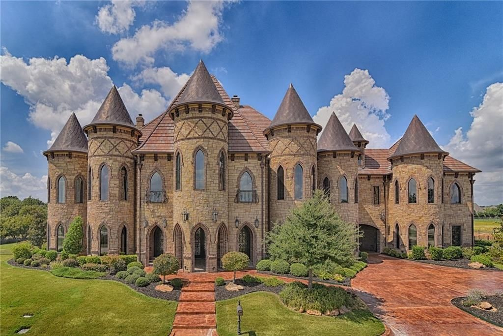 2 89 This Castle Style Home Is In Dallas Texas And Is Fit For King Boasting Eight Bedrooms Space For Twelve Cars A Mansions Mediterranean Homes Castle House