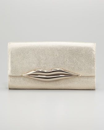 Diane von Furstenberg Carolina Metallic Canvas Lips Clutch Bag, Gold - Neiman Marcus