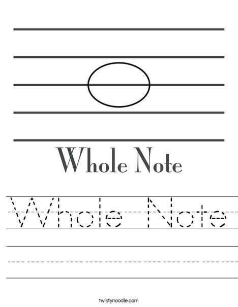 Whole Note Worksheet from TwistyNoodle.com   Music   Pinterest ...